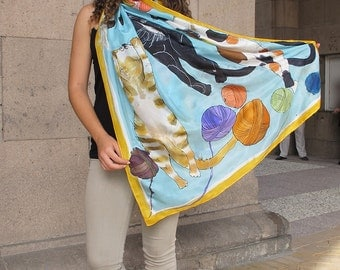 """Lazy Cats"""" Silk Scarf/ Hand painted scarf shawl/ Animal scarf/ Designer scarf/ OOAK gift for cats lovers/ Luxury silk scarves/ Silk painting"""