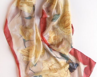 Pale Roses Silk scarf/ Lightweight Floral Scarf - Women Fashion Accessories - Boho Gift Idea for Her -Hand painted scarf- Spring scarf