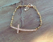 Sideways Cross Bracelet, Rhinestone Cross Bracelet, Pyrite Cross Bracelet, Side Ways Cross Bracelet, Crystal Cross Bracelet