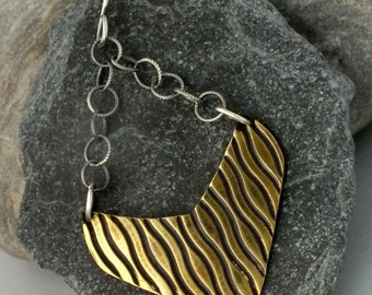 Ripples- Embossed Brass and Sterling Silver- Mixed Metal Earrings
