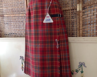 Vintage 70's Tartan Plaid Skirt Kilt Pleated Wrap Style Archie Brown NWT Size 14