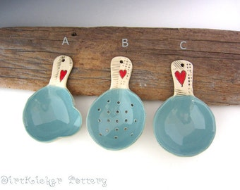 Pottery Super Scoop / Ladle / Strainer - Large Serving Spoon - Large Spoon - Colander Spoon - by DirtKicker Pottery