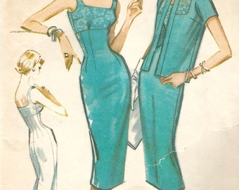 "Vintage 50s McCalls 4553 Misses Empire Waist Wiggle Sleeveless Dress and Jacket Sewing Pattern Size 12 Bust 32""."