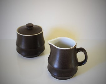 Vintage Stone Ware / Christmas Gift For Him / Gift For Her / Cream and Sugar / Vintage Kitchen / Vintage Housewares / Coffee / Brown