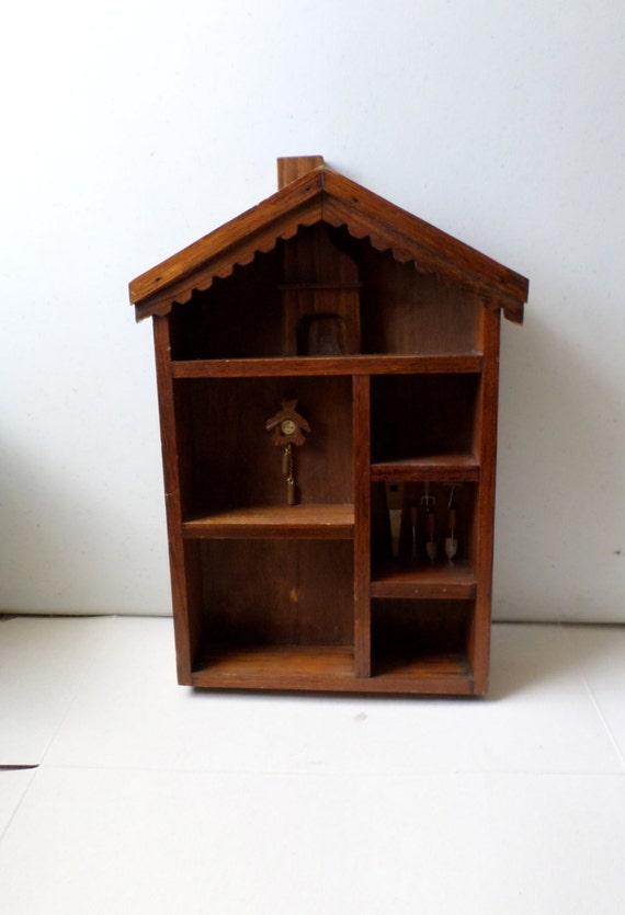 vintage wood miniature display case wall decor wall cabinet. Black Bedroom Furniture Sets. Home Design Ideas