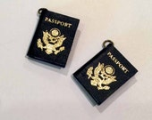 2 pcs Mini PASSPORT charms-Miniature passport book charms-Travel charms-International charms-Explorer charm-Vacation charm-Scrapbook charm