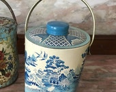 Vintage Tin Blue Willow Biscuit with Handle England Mid Century