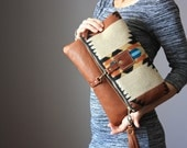 Leather tassel bag, Southwestern Wool and leather bag, Large Leather foldover clutch, leather bag, wool fabric  rust leather clutch, fringe