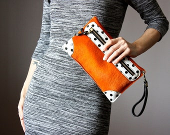 Leather bag, Leather clutch,  Orange hair on hide clutch, cowhide clutch , Cowhide Medium Pouch , Clutch , Wallet , Bag , Purse, polka dots