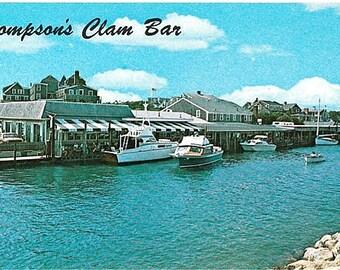 Vintage Cape Cod Postcard - Thompson's Clam Bar on Wychmere Harbor, Harwich Port (Unused)