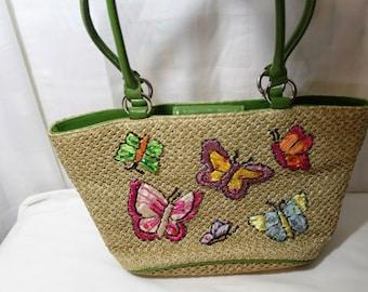 Vintage Jute Summer Purse With Butterflies, Vacation Handbag