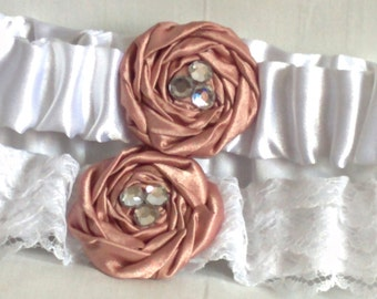 Rose & White Lace Wedding Garter Set, Blush Pink satin rose with crystals, includes keepsake and toss garters