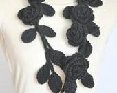 ROSA -  Black - Crochet Multicolor Roses Scarf/Lariat