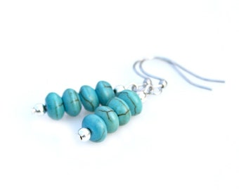 Turquoise Earrings Silver Earrings Southwest Earrings Petite Dangle Earrings Blue Earrings Romantic Everyday Style by Mei Faith