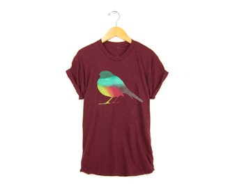 Autumn Robin Tee - Boyfriend Fit Crew Neck Tshirt with Rolled Cuffs in Fall Rainbow and Heather Cardinal- Women's S-3XL