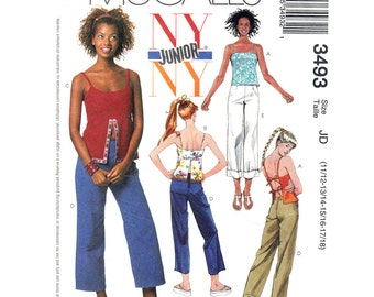 Open Back Top, Pants Sewing Pattern McCalls 3493 Empire Spaghetti Strap Top Bare Back, Cropped Trousers Juniors Size 11 to 18 UNCUT