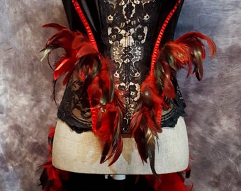 FIREBIRD Raven Feather Burlesque Costume red black victorian lace corset
