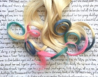 the C A N D Y . Candy OMBRE and layer hair extension accent clip in 100% human hair platinum blonde pink baby blue silver grey gray lavender