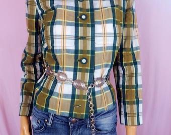 Vintage western wear,Womens  Green Plaid Jacket,size 10, 1960s