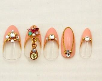 Almond Nails, Pink Duchess, Jeweled 3D Fake Nails, 3D Japanese Nail Art, False Nail, Pink, Shibuya, French Tip Nail, Acrylic Nail, Fake Nail