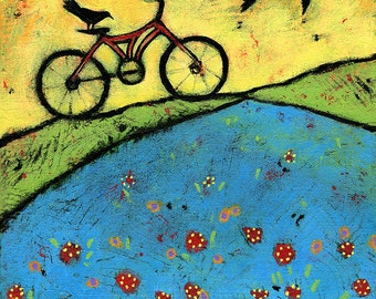 "Bicycle and Raven Archival Print - Art for Kids Room, 8"" x 8"""