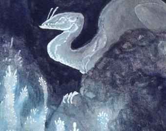"Limited Edition Archival ACEO Print ""Subterranean"" troglodyte dragon fantasy art"