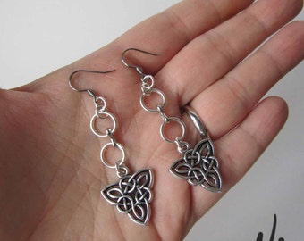 Silver Hooped Celtic Knot Dangling Earrings - Available in 3 lengths - 6 charms to choose from