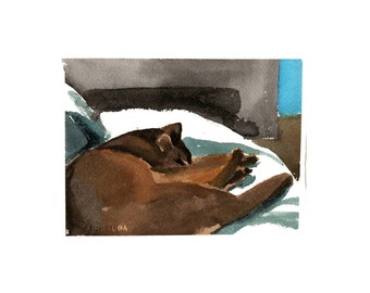 Cat on a white throw- original watercolor painting