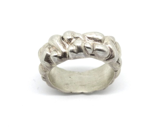 Free Form Heavy Carved Sterling Silver Ring Band size 6