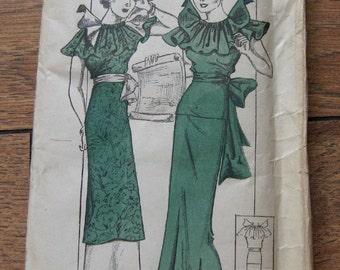 vintage 30s new york pattern 172 misses DRESS FF sz 11 b29