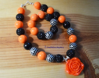 Orange and Black Chevron Jewelry Set Chunky Bubble gum necklace bracelet,chunky beads, girls jewelry, woman jewelry,orange Flower Pendant