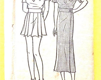 1930s Pictorial 6785 Printed Pattern Women's and Misses' Shorts, Blouse and Wrap-Around Skirt   Vintage Sewing Pattern Bust 33 Hip 36 inches