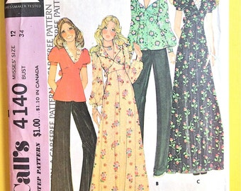 1970s McCall's 4140 Misses' Dress or Top High waisted back zip dress or top puffed sleeves, detachable collar Vintage Sewing Pattern Bust 34