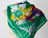 GREEN 1970s Bebe London Floral Indian Silk Scarf