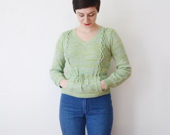 1970s Sea Foam Space Knit Sweater - XS/S
