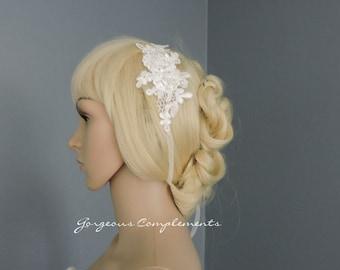 Alencon Lace Head Piece, Lace Bracelet or Add to Your Veil