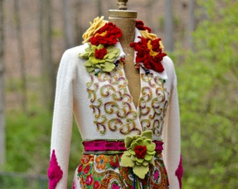 Custom sweater coat for VC.  Fantasy Boho chic hippy hippie gypsy style fashion indie folk clothing