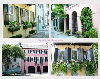 Charleston Rainbow Row Photography, Shabby Chic Charleston Window Boxes, Charleston Photos Prints Set, Charleston South Carolina Note Cards
