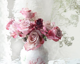 Roses Photography, Romantic Shabby Chic Decor, Dreamy Pink Roses Prints, Impressionistic Pink and Red Roses Wall Art, Roses Wall Art Prints