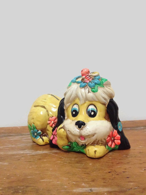 Vintage Chalkware Puppy Dog Bank - Holiday Fair - Made in Japan - Big Eyes, Flowers, Bumblebee, Neon Colors