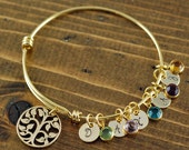 Gold Tree of Life Bracelet, Family Tree Bracelet, Gold Bangle Bracelet, Tree of Life Bangle, Initial Bangle Bracelet, Birthstone Bracelet
