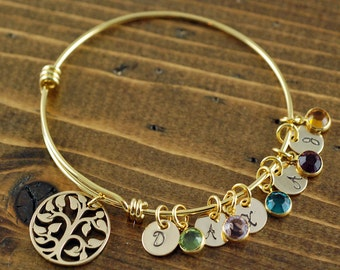 Gold Tree of Life Bracelet, Family Tree Bracelet, Gold Bangle Bracelet, Tree of Life Bangle, Initial Bangle Bracelet, Birthstone Bracelet