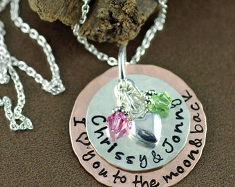 Love you to the Moon and Back,  Personalized Mom Necklace, Kids Names Necklace, Gift for Mom, Mothers Necklace, Moon and Back Jewelry