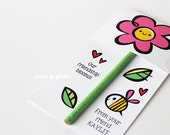 Valentine Flower Pencil Holder Valentine Printables DIY Paper Craft - Editable Text PDF-You type in the text to personalize  P006