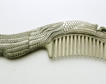 Chinese Tibetan SILVER PEACOCK Comb 6 in.