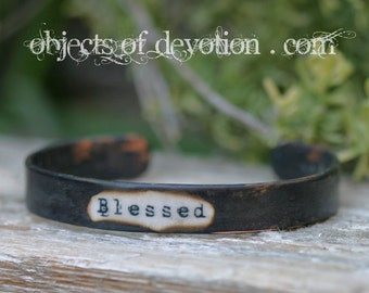 BLESSED * Religious Jewelry * Blessed Bracelet * Christian Jewelry * Catholic Bracelet * Artisan Religious Gift * Appreciation * Gratitude