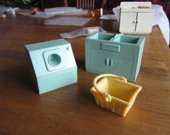 Dollhouse Decor. MAR Aqua Dryer, Double Sink, and Yellow Clothes Basket. #135
