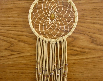 Crystal Sun Catcher ~  Dream Catcher, 5 inch wrapped with cream deerskin leather, with amber glass beads & Czech Crystal, 5 inch fringe