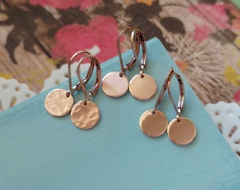 Rose Gold Disc Earrings, Small Round Dangle, Modern Pink Gold Jewelry, Hammered Coin Round Drop, Simple Everyday Jewelry Gift for Her