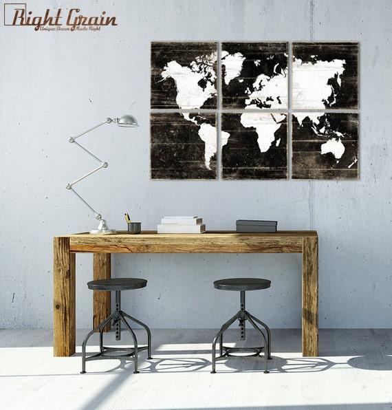 Rustic World Map Print - Large Vintage Map Wall Art - Kids Room Decor - Office Art Decor